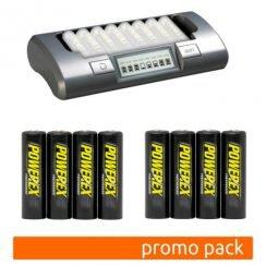 Pack cargador MH-C800s con 8 pilas recargables AA Powerex precharged 2600 mAh