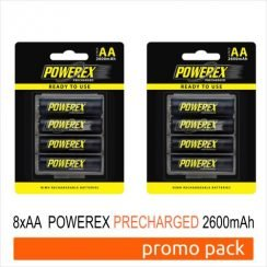 Pcak 8 Baterías Powerex Precharged AAMHRAAP4-2